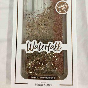 iPhone xs Max waterfall gold glitter phone case